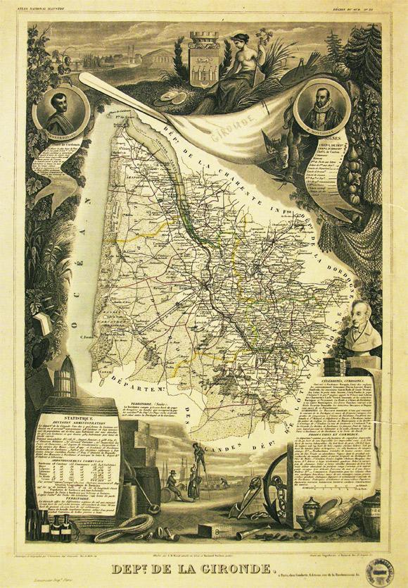 Cartes anciennes de la gironde ou figure le Lac de Lacanau Lacanau