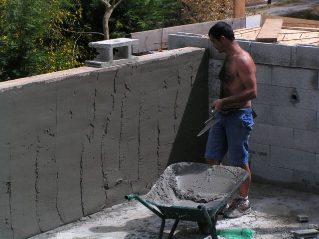 L 39 enduit des murs de la piscine d bordement for Piscine construction